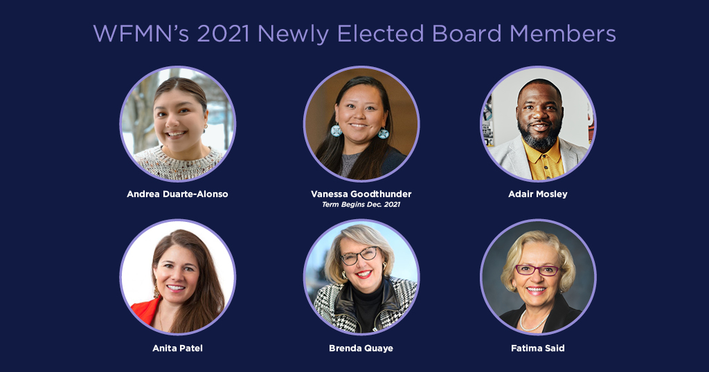 WFMN's 2021 Newly Elected Board Members: With photos in circles on a navy background that show: Andrea Duarte-Alonso, Vanessa Goodthunder, Adair Mosley, Anita Patel, Brenda Quaye, Fatima Said